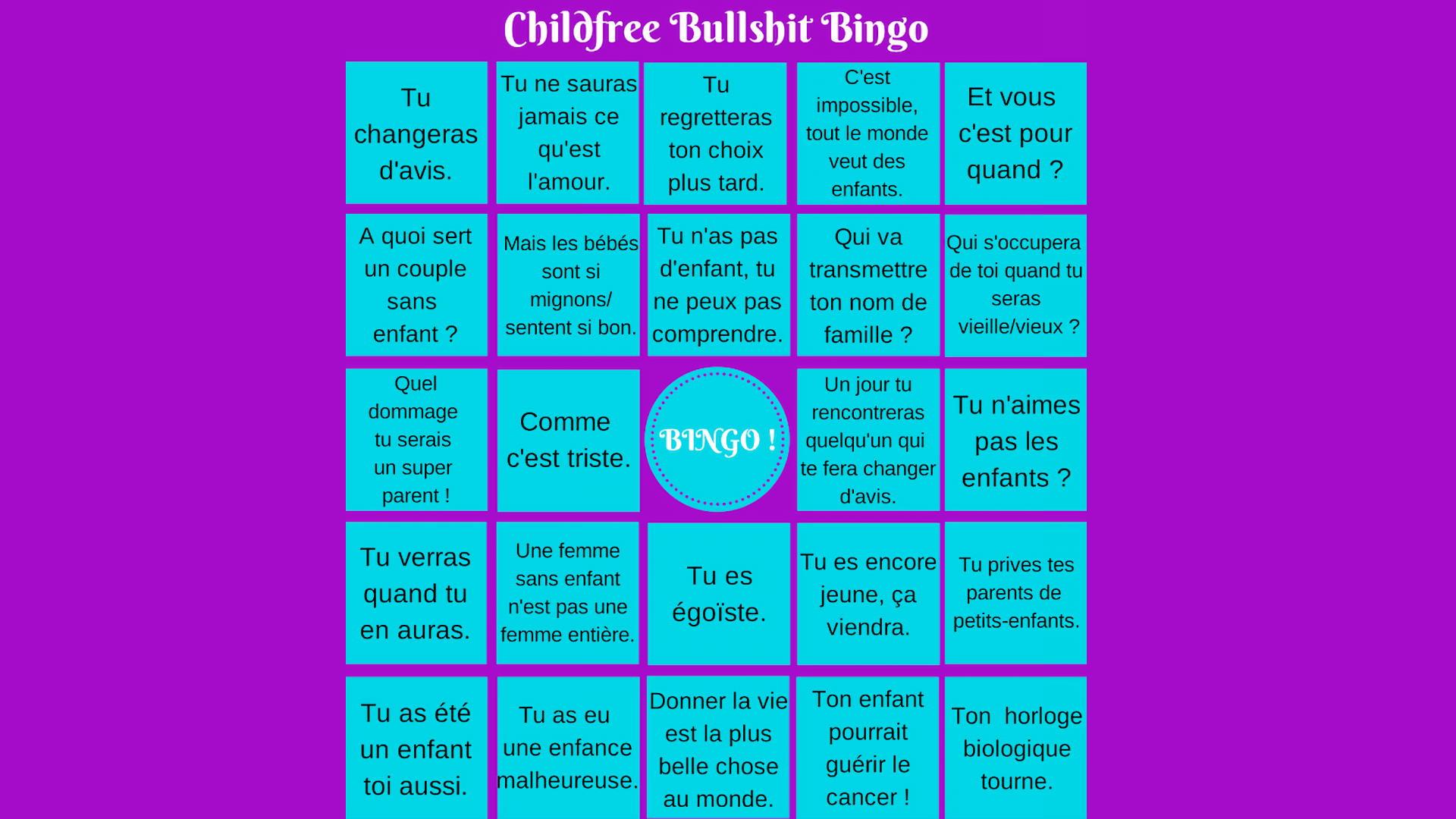 Childfree Bullshit Bingo